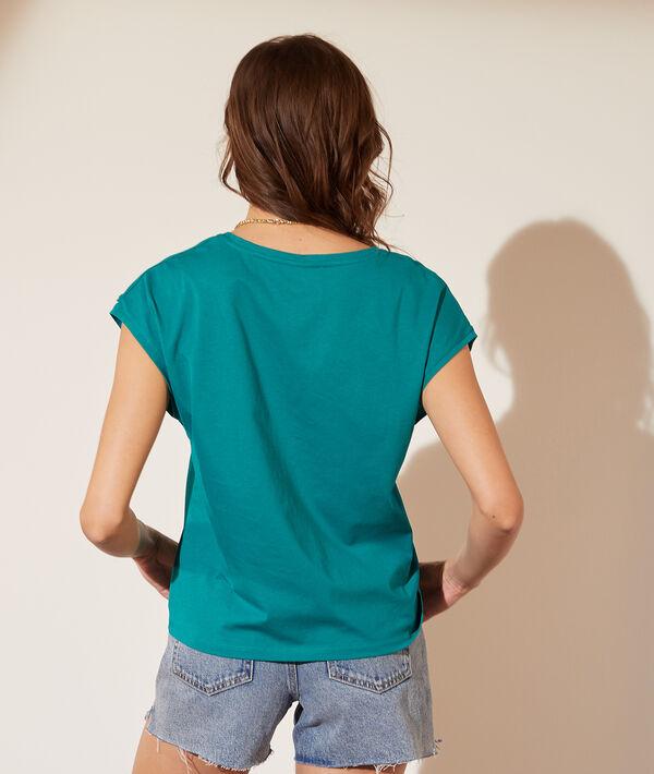 T-shirt col V manches tressées