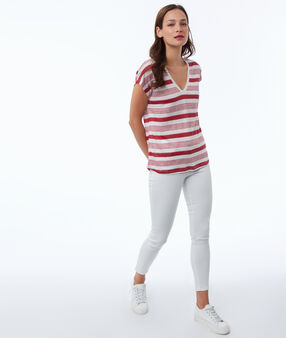 T-shirt à rayures en lin mélangé carmin.