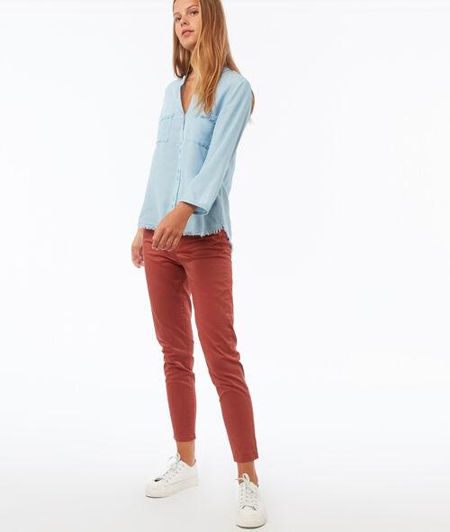 Chemise à bords frangés en Tencel®