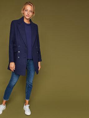 Manteau 3/4 boutonné avec poches bleu marine.