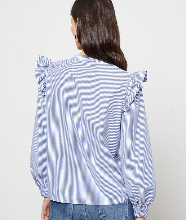 Chemise volantée à rayures