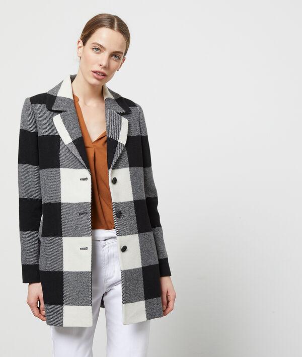 Manteau droit à gros carreaux