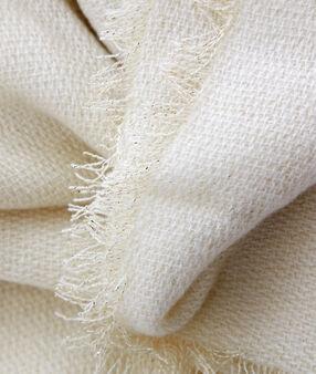 Écharpe plaid à fil métallisé écru.