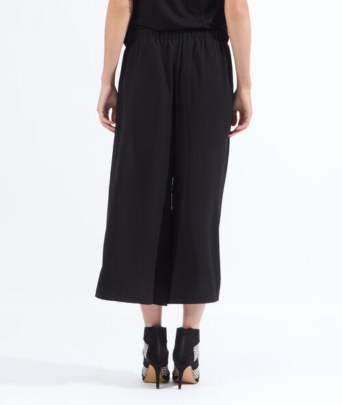 Pantalon large court, noeud taille