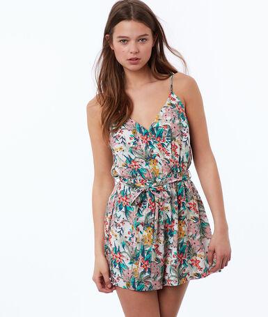 Combi-short à bretelles avec imprimé floral écru.