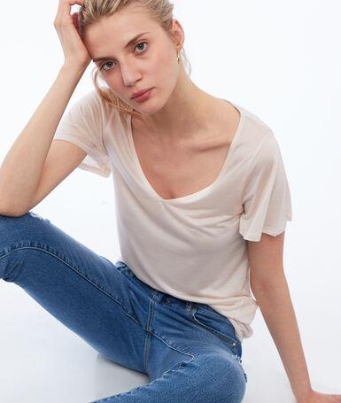 T-shirt col v en tencel® nude.
