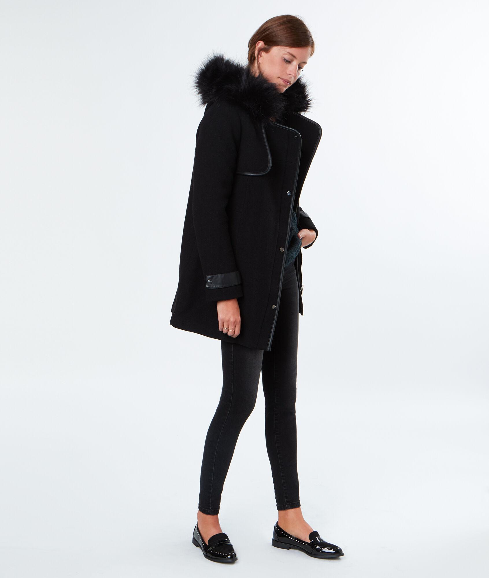 manteau en laine capuche en fausse fourrure. Black Bedroom Furniture Sets. Home Design Ideas