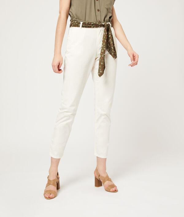 Pantalon droit avec foulard - NORA BELT - 44 - Blanc - Femme - Etam