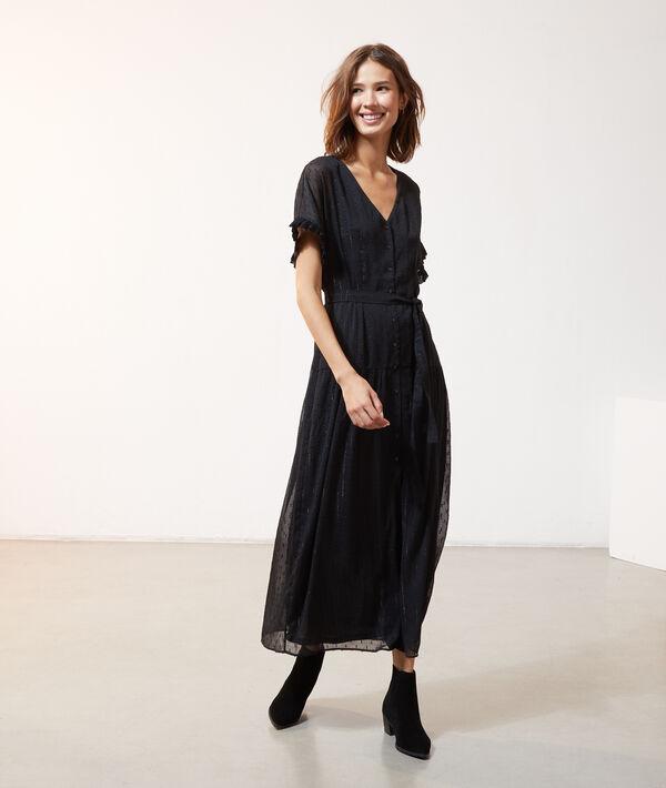 Robe longue en plumetis - LUCIA - 34 - Noir - Femme - Etam
