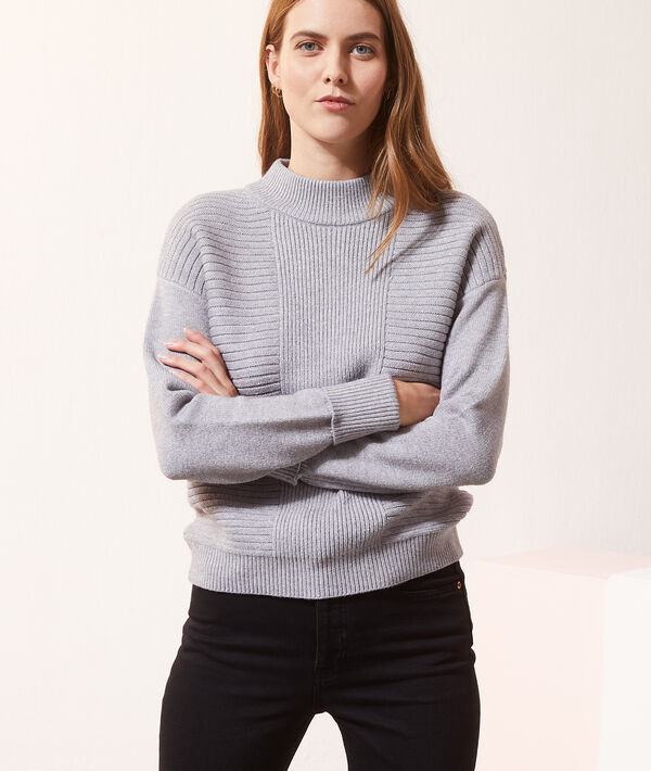 Pull col montant en grosse maille