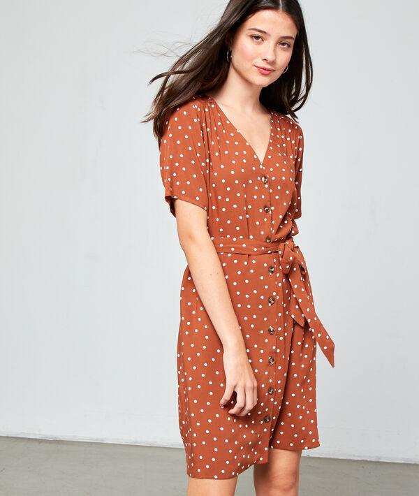Robe à pois et ceinture - LUCIE - 40 - Marron - Femme - Etam