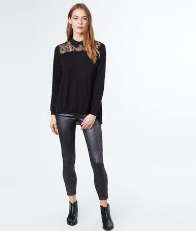 Pull col chemise 2 en 1 empiècement dentelle noir.