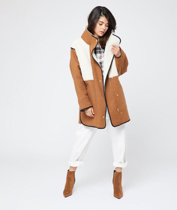 Manteau à effet peau lainée
