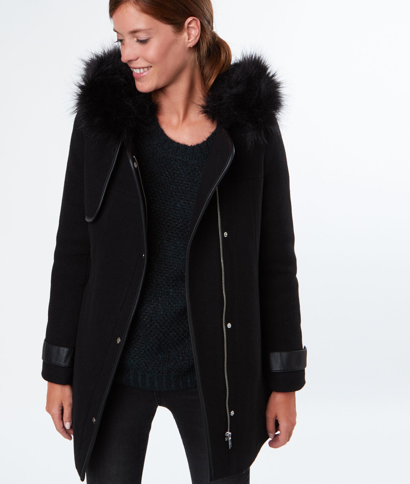 manteau en laine capuche en fausse fourrure tom noir etam. Black Bedroom Furniture Sets. Home Design Ideas