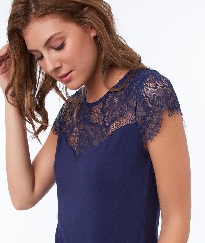 T-shirt empiècement dentelle dos ouvert bleu marine.