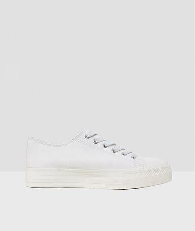 Baskets à lacets blanc.