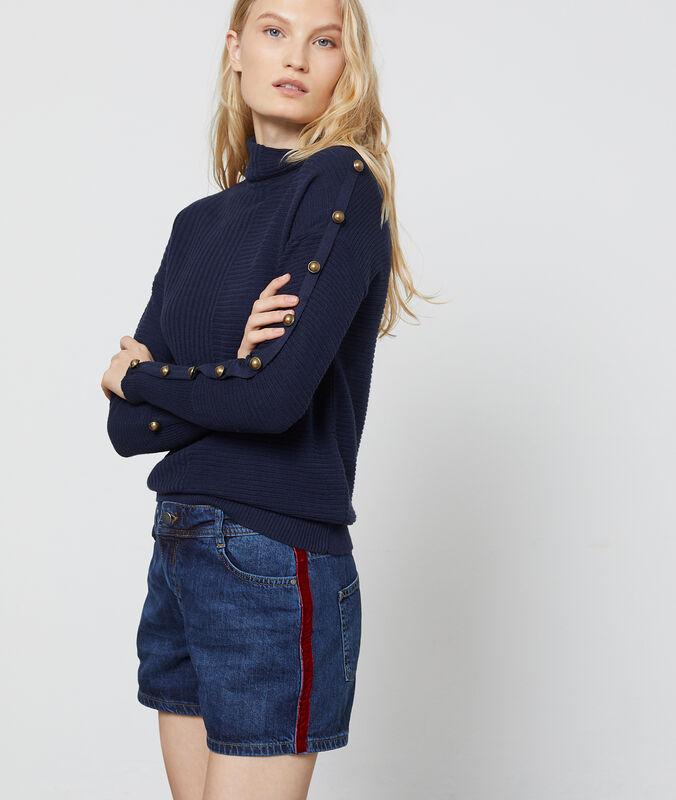 Short en jean avec bande latérale stone.