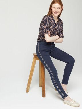 Pantalon skinny à bandes latérales marine.
