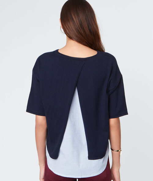 Pull manches courtes doublure chemise