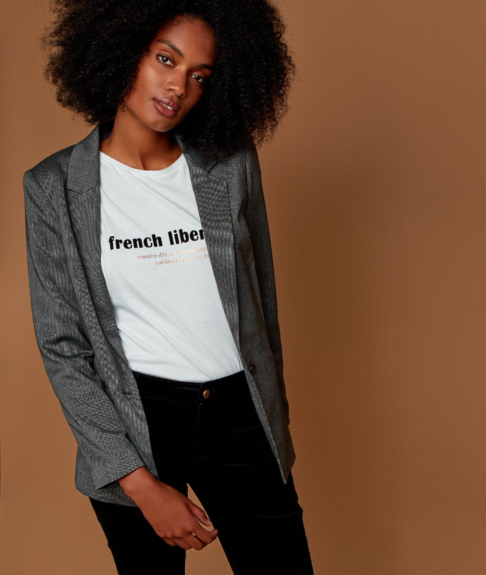 Veste courte femme gris argent