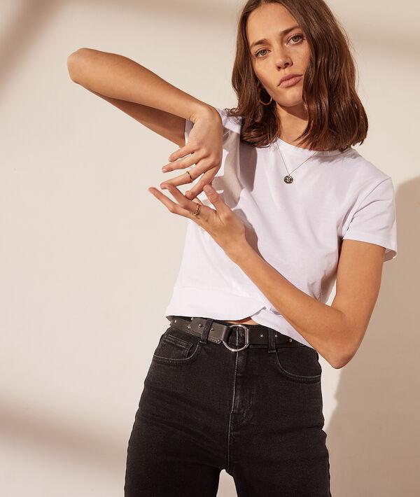 T-shirt court, effet torsadé sur le devant