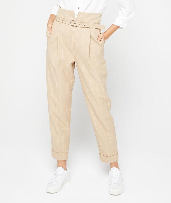 Pantalon carotte ceinturé