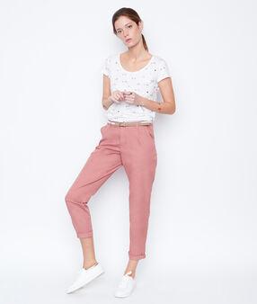 Top manches courtes imprimé flamants roses blanc.