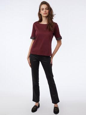 T-shirt manches brodées 100% coton anemone.
