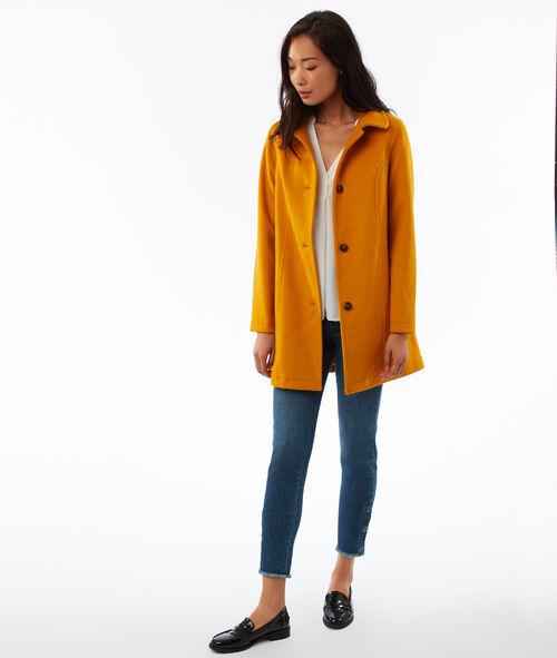 Manteau 3/4 boutonné en laine mélangée