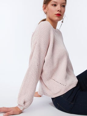 Pull en maille chenille rose pale.