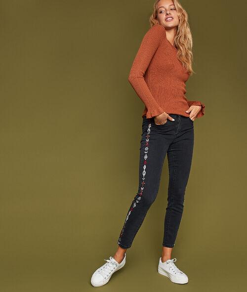 Pantalon bande latérale brodée