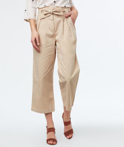 Pantalon large avec ceinture en coton
