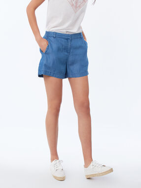 Short en tencel® bleu délavé moyen.