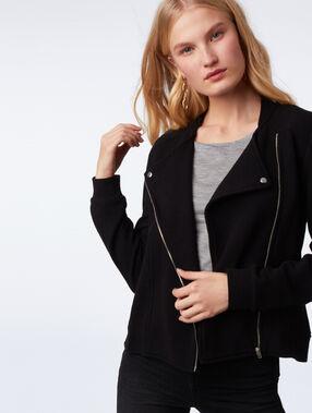 Veste zippée façon biker noir.
