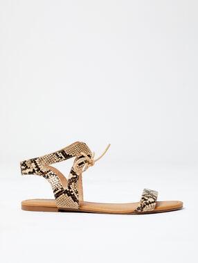 Sandales à imprimé serpent ecru.