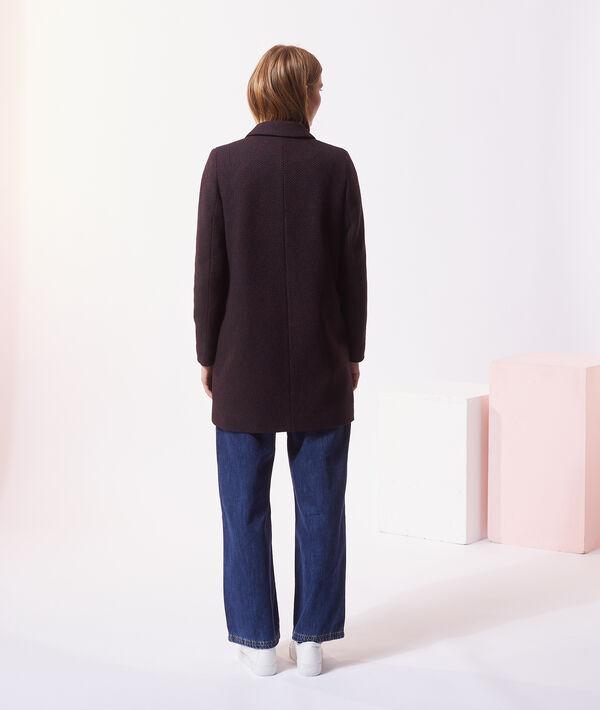 Manteau droit en laine mélangée