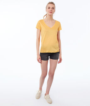 T-shirt uni col v jaune mimosa.