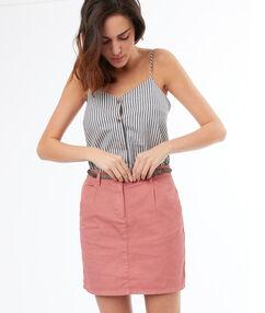 Jupe droite courte rose.