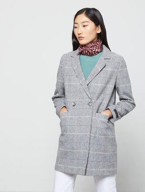 Manteau masculin à rayures gris chine clair.