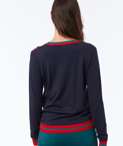 Pull détails rayures