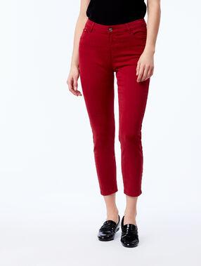 Pantalon slim court en coton sienne.