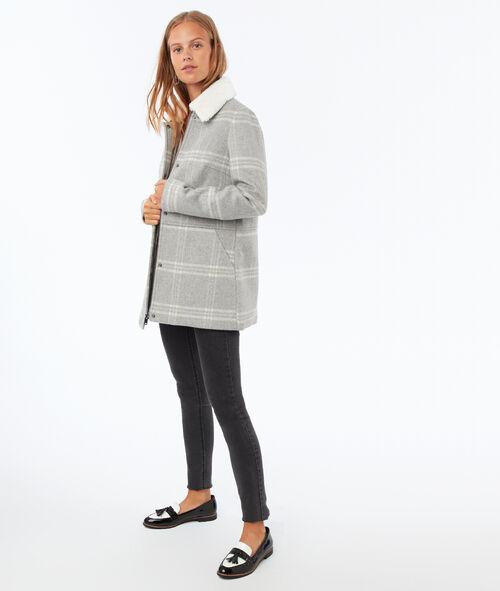Manteau à carreaux texturé