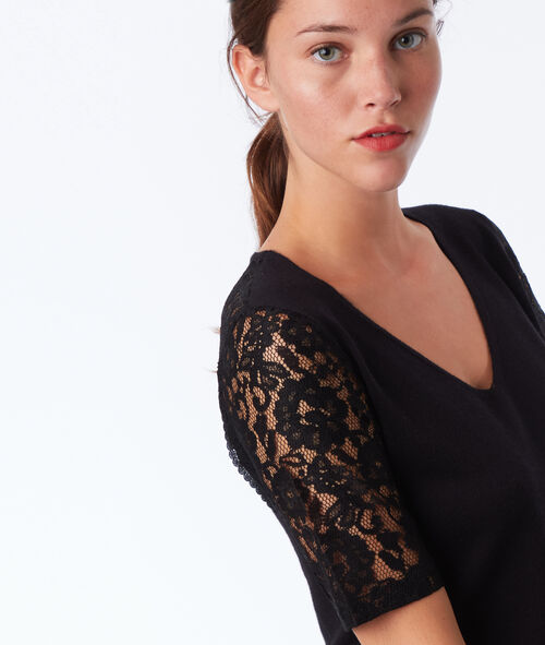 Pull manches courtes dos ouvert