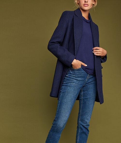 Manteau 3/4 boutonné avec poches