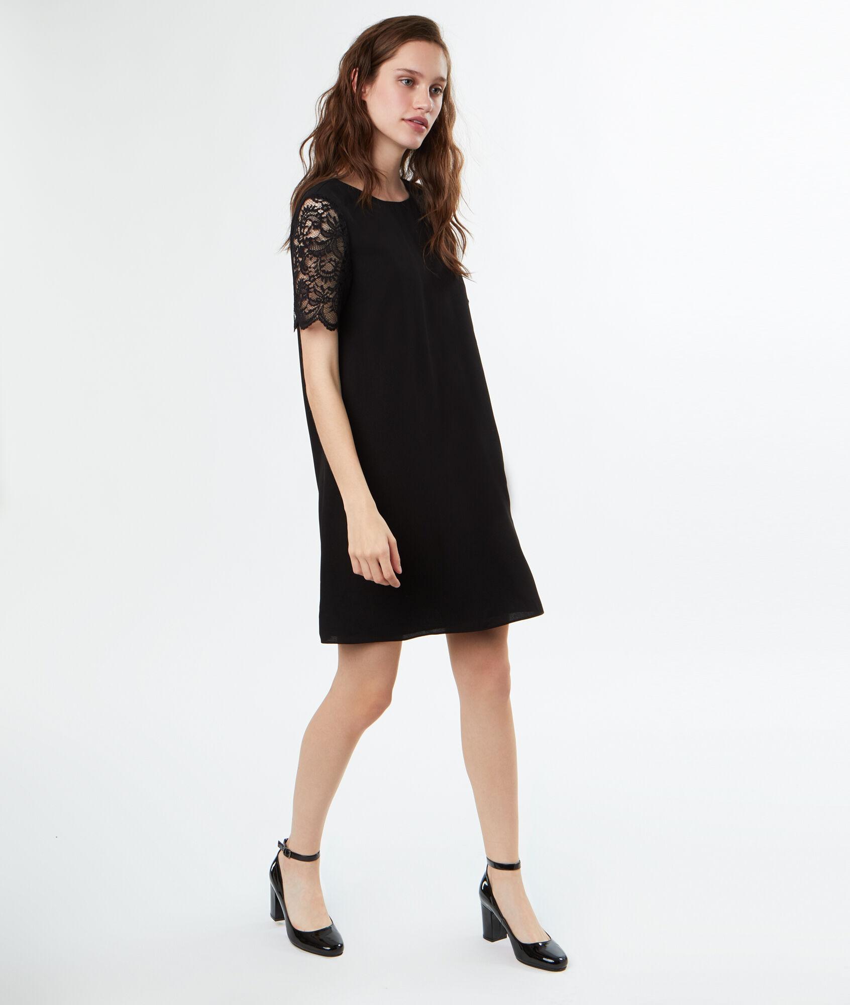 Robe Noir Etam En Manches Courtes Kate Dentelle w7U1w0
