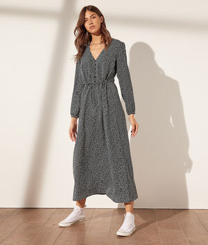 Robe longue imprimée avec ceinture