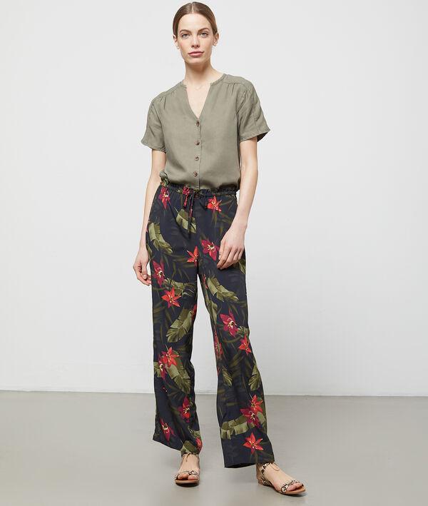 Pantalon large ceinturé à imprimé floral