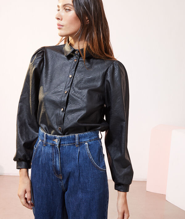 Chemise manches bouffantes effet cuir