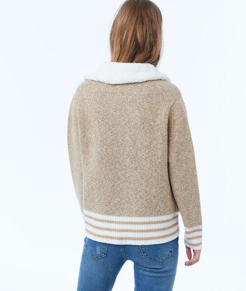 Veste avec col effet peau lainée