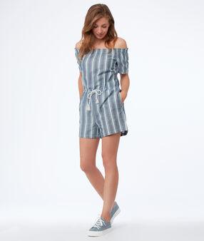 Combi-short à rayures épaules dénudées bleu délavé moyen.